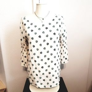 White elbow sleeve blouse with green leaves